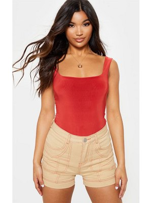 PrettyLittleThing neon orange utility stitched detail denim shorts