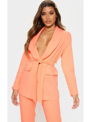 PrettyLittleThing neon peach belted lapel detail woven blazer