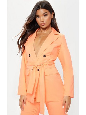 PrettyLittleThing neon peach belted long line woven blazer