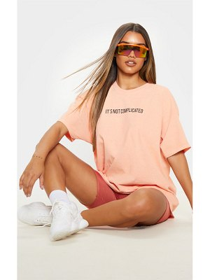PrettyLittleThing not complicated slogan washed oversized t shirt