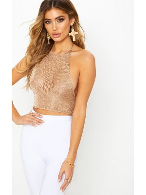 PrettyLittleThing nubia metallic knitted crop top
