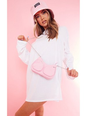PrettyLittleThing nylon mini multi pocket chain cross body bag