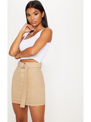PrettyLittleThing o-ring detail denim mini skirt