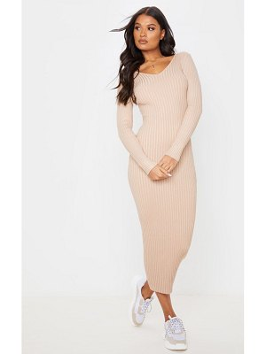 PrettyLittleThing off shoulder rib knitted midaxi dress
