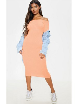 PrettyLittleThing off shoulder soft rib midi dress