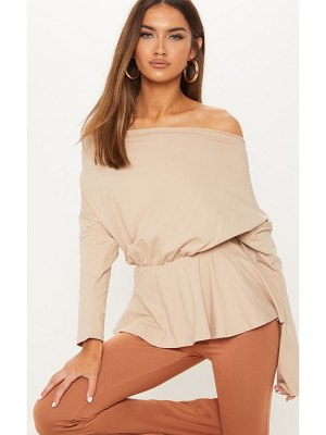 PrettyLittleThing off the shoulder slouchy peplum top