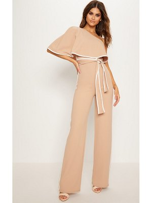 PrettyLittleThing one shoulder contrast binding jumpsuit