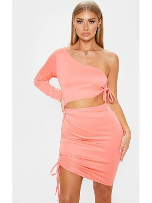 PrettyLittleThing one shoulder cut out ruched bodycon dress