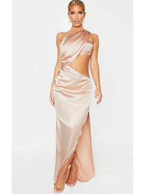 PrettyLittleThing one shoulder cut out satin maxi dress
