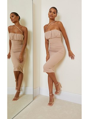 PrettyLittleThing one shoulder strap ruched bust midi dress