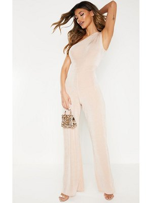 PrettyLittleThing one shoulder textured slinky wide leg jumpsuit