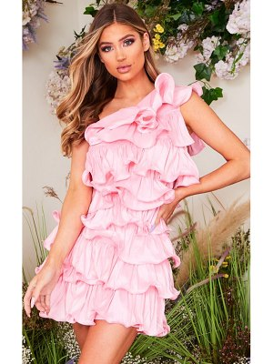 PrettyLittleThing one shoulder tiered frill shift dress