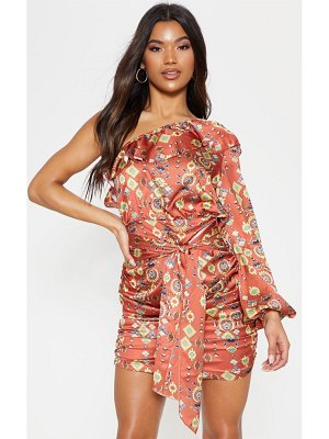 PrettyLittleThing one sleeve ruched printed bodycon dress