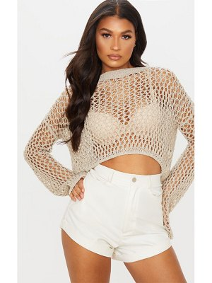 PrettyLittleThing open knit cropped sweater