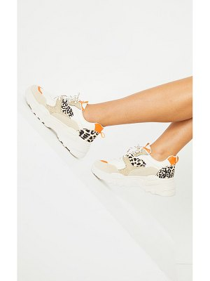 PrettyLittleThing orange chunky panel detail sole animal sneakers
