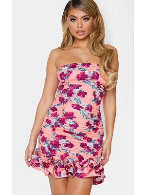 PrettyLittleThing orange floral woven ruffle frill hem bandeau bodycon dress