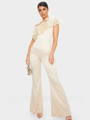 PrettyLittleThing organza frill one shoulder satin jumpsuit