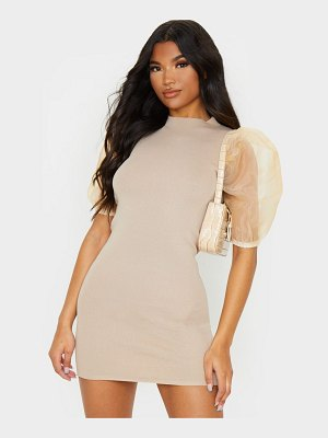 PrettyLittleThing organza puff sleeve knitted dress