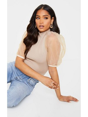 PrettyLittleThing organza puff sleeve knitted top