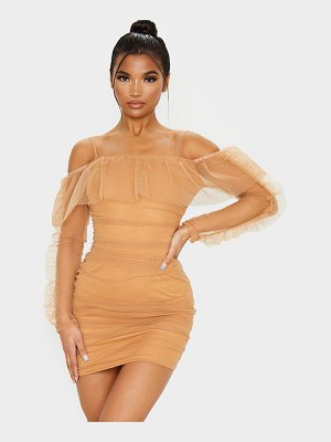 PrettyLittleThing organza ruched bardot frill bodycon dress