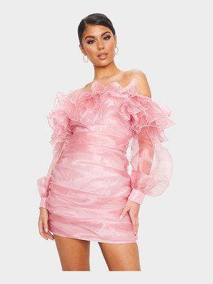 PrettyLittleThing organza ruffle bardot bodycon dress