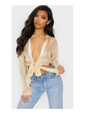 PrettyLittleThing organza sheer tie front blouse