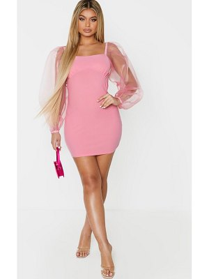 PrettyLittleThing organza sleeve cup detail bodycon dress