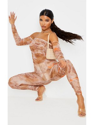 PrettyLittleThing oriental print mesh ruched jumpsuit