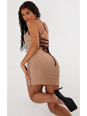 PrettyLittleThing overlock stitch lace up back bodycon dress