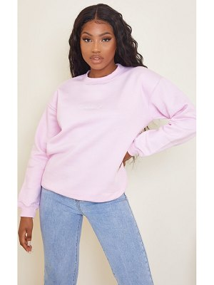 PrettyLittleThing oversized baby pink embroidered sweater