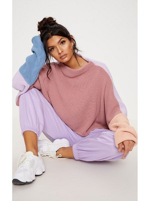 PrettyLittleThing oversized colour block sweater