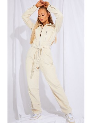 PrettyLittleThing oversized cord belted jumpsuit