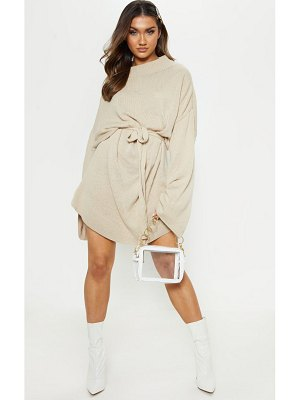 PrettyLittleThing oversized knitted belted dress