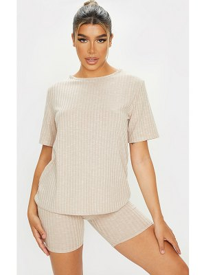 PrettyLittleThing oversized knitted tee and short set