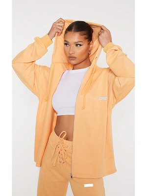 PrettyLittleThing  oversized metal badge zip through hooded jacket