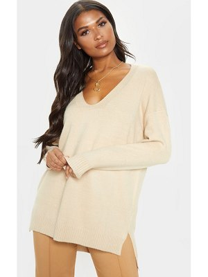 PrettyLittleThing oversized v neck knitted sweater