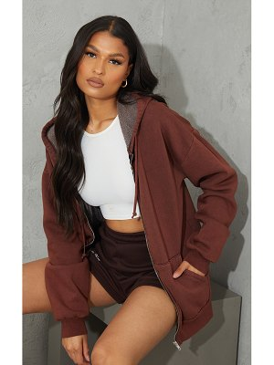 PrettyLittleThing oversized washed zip up hoodie