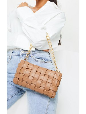 PrettyLittleThing oversized weave with gold chain shoulder bag