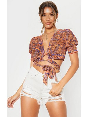 PrettyLittleThing paisley print ring detail wrap blouse