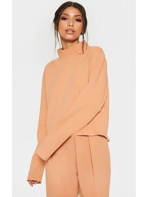 PrettyLittleThing pale high neck long sleeve sweater