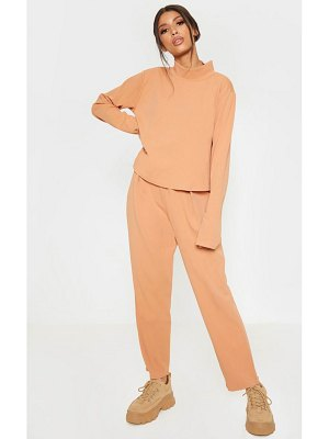 PrettyLittleThing pale high waisted pleat detail tapered trouser