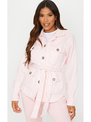 PrettyLittleThing pale pink belted dipped hem shacket