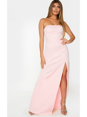 PrettyLittleThing pale pink corset detail bandeau maxi dress