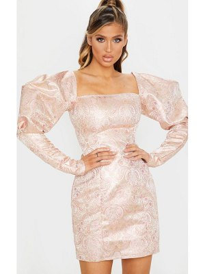 PrettyLittleThing pale pink extreme puff sleeve jacquard bodycon dress