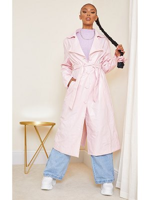 PrettyLittleThing pale pink faux leather collar belted maxi trench