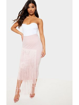 PrettyLittleThing pale pink fringe detail tiered midaxi skirt