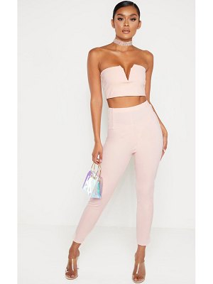 PrettyLittleThing pale pink high waisted pleated front detail skinny pants