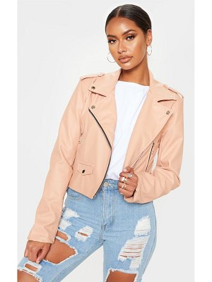 PrettyLittleThing pale pink pu biker jacket with zips