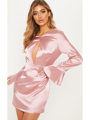 PrettyLittleThing pale pink satin flared cuff shift dress