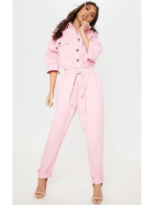 PrettyLittleThing pale pink tortoise button chambray jumpsuit